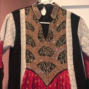 Indian Pakistani fancy beadwork dress Anarkali